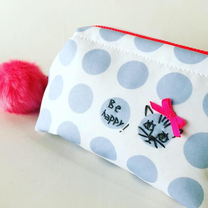 東京・中目黒のオリジナルバッグブランドSaori Mochizuki(サオリモチヅキ)の水玉・猫柄ポーチ