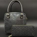 オリジナル水玉箔加工の本革ハンドバッグとお財布の詳細