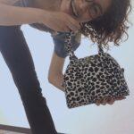 ダルメシアン柄(変形水玉柄)の豚革ミニボストンバッグ